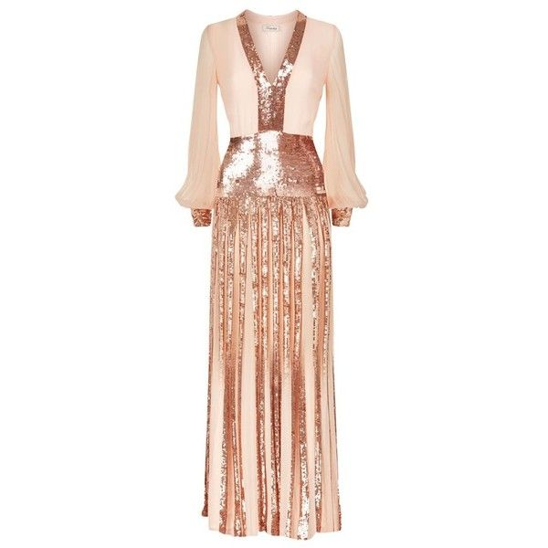 Temperley London Filigree Dress (114.355 RUB) ❤ liked on Polyvore featuring dresses, neutral, short, short sequin dress, long sleeve short dress, sheer cocktail dress, long sleeve dress and sequin dress