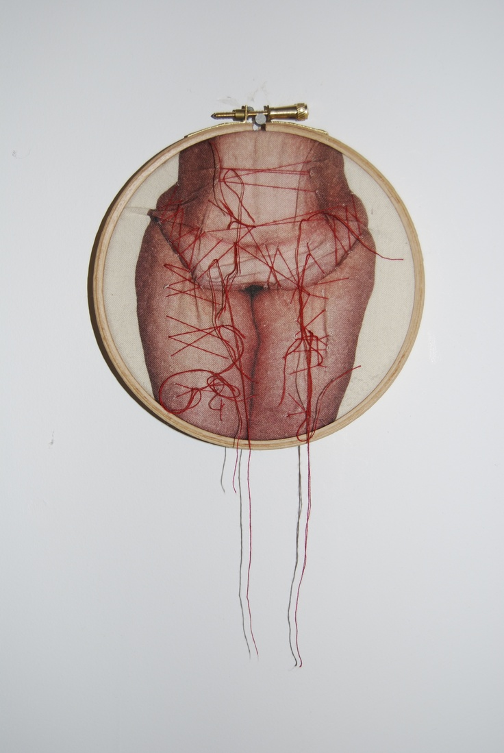 © Rebecca Harris, 2013, photo printed onto calico and manipulated with stitching - work in progress for obesity project,