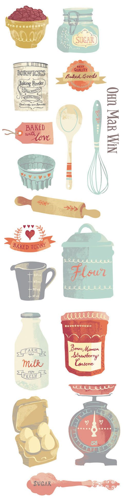 Delightful vintage inspired baking illustrations for this illustrated recipe for the classic scone. OHN MAR WIN @ohnmarwin #art #illustration #food