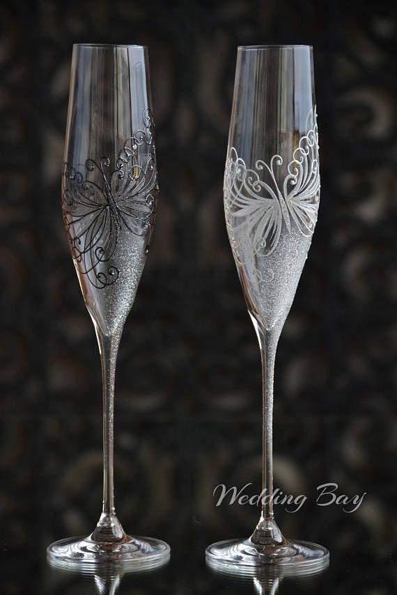 Black and White Wedding Swarovski Flutes Anniversary