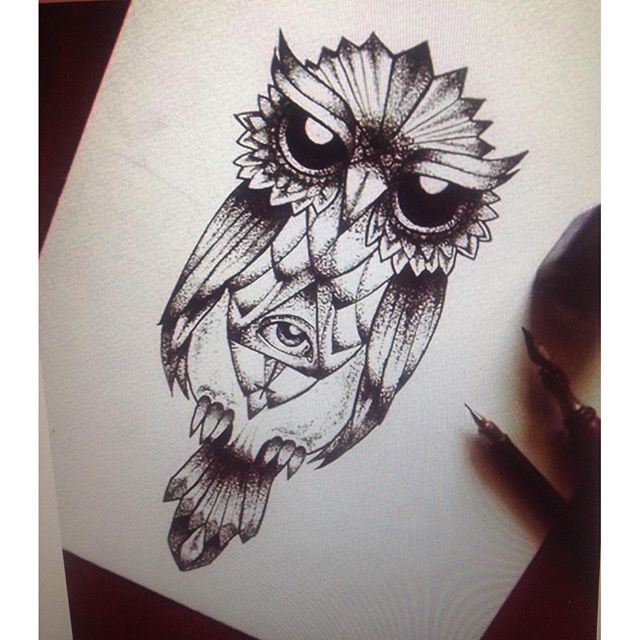 owl tattoo illuminati pyramid eye draw drawing