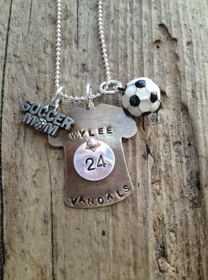 Soccer mom coach player necklace pendant with jersey by tagsoup, $24.00