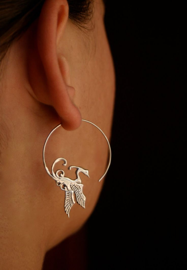 Little Phoenix hoops - sterling silver.