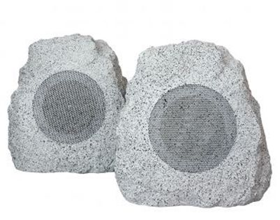 """* Compatible with any Smartphone or """"Smart"""" Device  * Wide frequency response * High efficiency * Injected polypropylene cone woofers * Fully weatherproof design * Attractive authentic rock shape * Natural gray stone color * 1 x 5"""" Speaker (each)"""