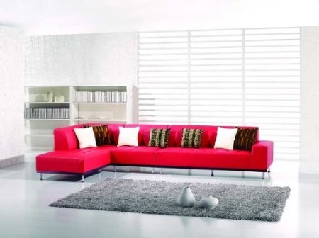 Amazon.com: New 3pc Contemporary Leather Sectional Sofa #AM-L101-A- RED: Furniture & Decor