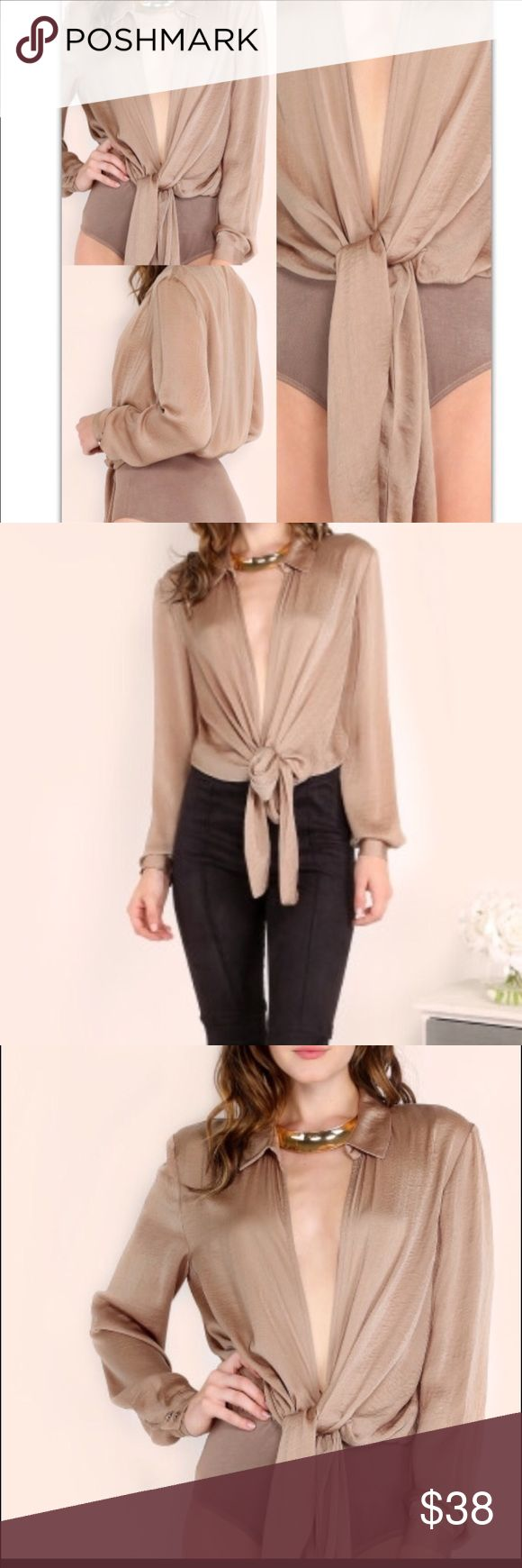 Tie Front Blouse Bodysuits Long Sleeve has some stretch made of Polyester Bodysuit Tops