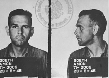 Amon Goeth was an SS Hauptsturmführer (Captain) and the commandant of the Nazi concentration camp in Płaszów in German-occupied Poland during World War II. He was tried as a war criminal after the war. After the Supreme National Tribunal of Poland at Kraków found him guilty of murdering tens of thousands of people, he was executed by hanging not far from the former site of the Płaszów camp. The film Schindler's List memorably depicts his occasional practice shooting camp internees for sport.