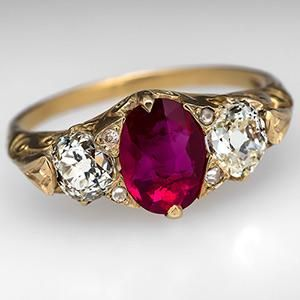 Victorian Era Ruby Engagement Ring 18K Gold Circa 1880's