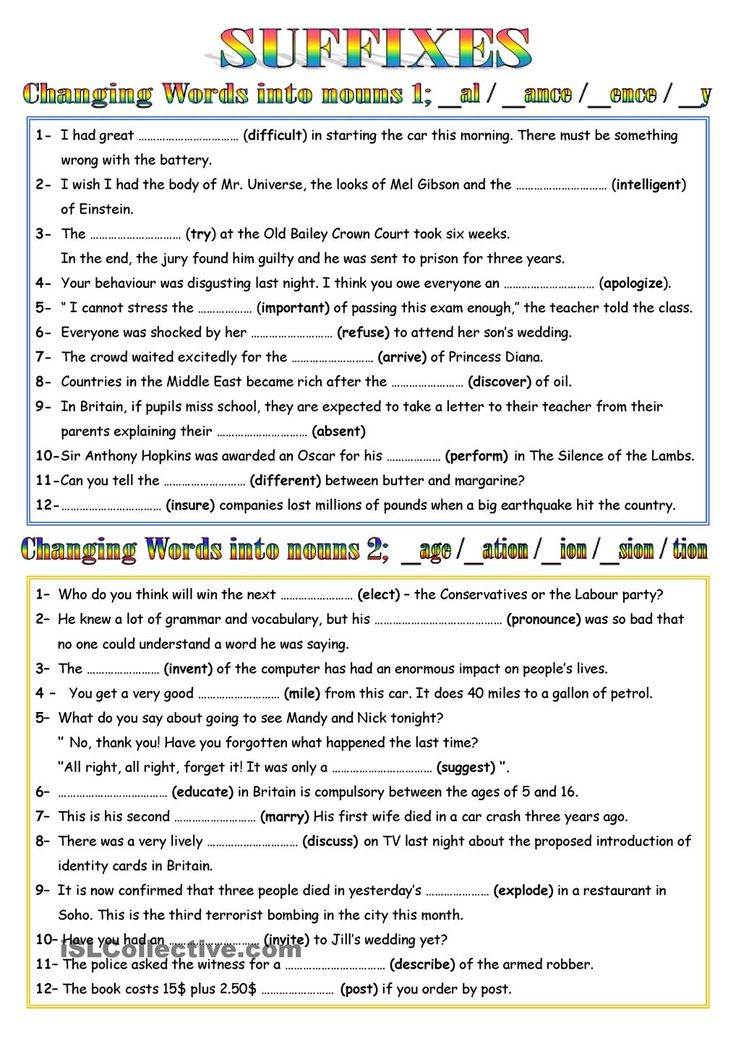 WORD FORMATION - NOUNS 1