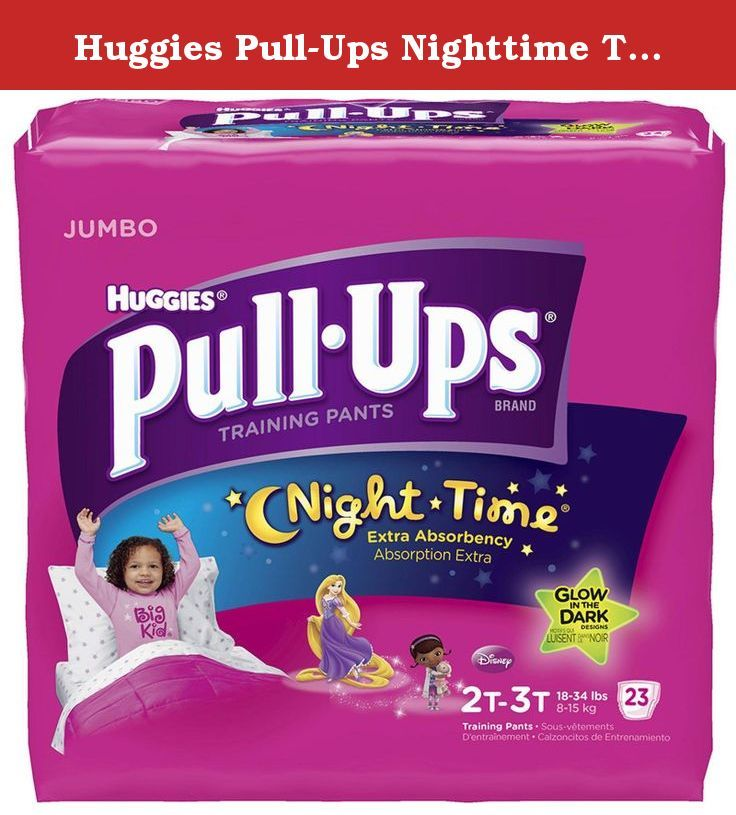 Huggies Pull-Ups Nighttime Training Pants - Girls - 2T-3T - 23 ct. Huggies Pull-Ups Night Time Glow In The Dark Designs Training pants. Jumbo. Extra absorbency. Absorption extra. 2t-3t. 18-34 lbs. 8-15 kg. Disney. 23.