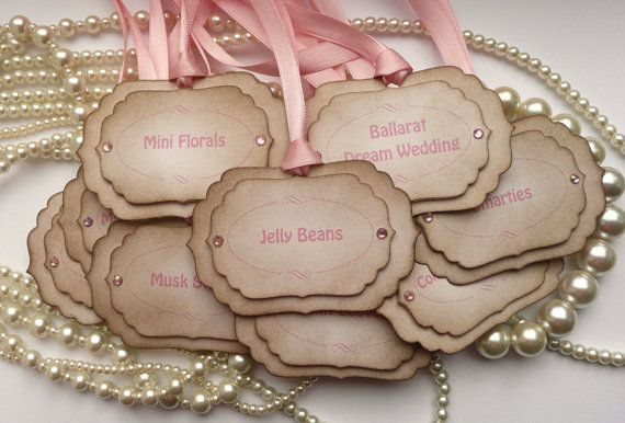Candy Buffet Labels - Pink - Custom Tags - Personalized. $13.50, via Etsy.