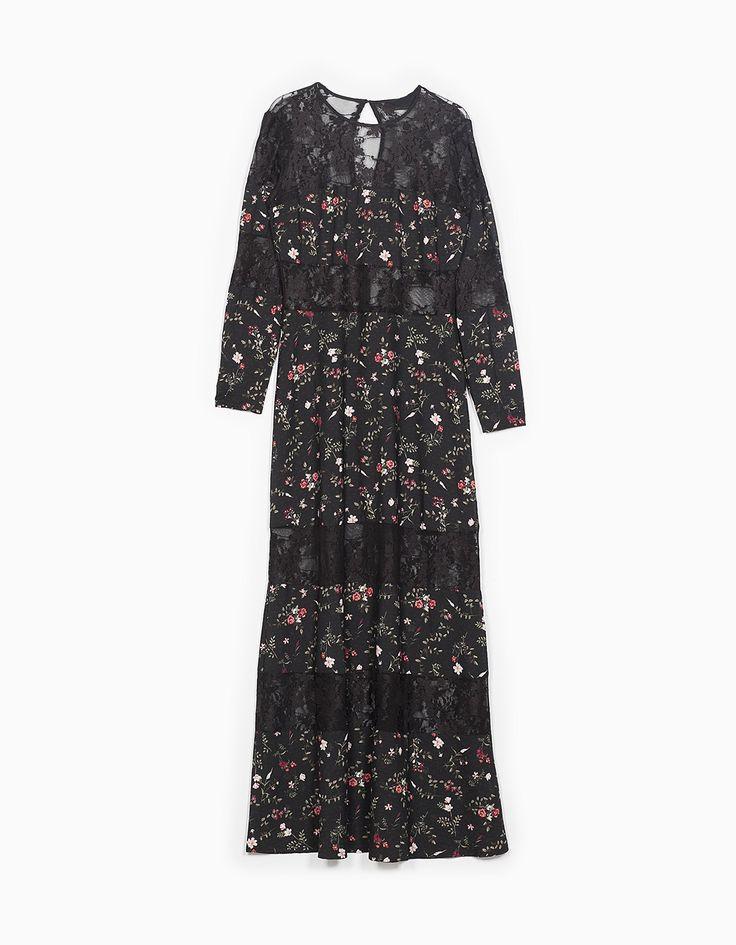 Maxi dress black lace and floral print  jurk zwart bloemenprint    http://www.stradivarius.com/nl/nieuw/kleding/lange-jurk-met-details-van-kant-c1390562p300004012.html?categoryNav=1390562&colorId=001