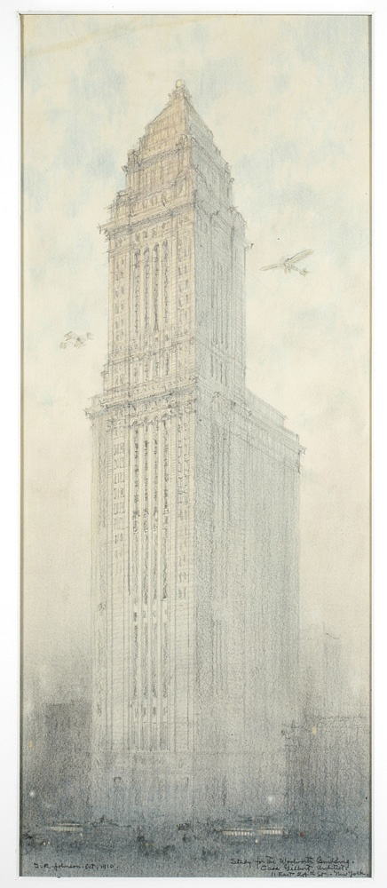 Study for the Woolworth Building, drawing by J.R. Johnson, Oct. 1910; Cass Gilbert Architecture Collection, PR 021.  NYHS Image #84936d.