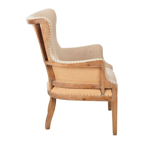 Brooks Exposed Wood Back Accent Chair Farmhouse Accent Chair Exposed Wood Accent Chairs