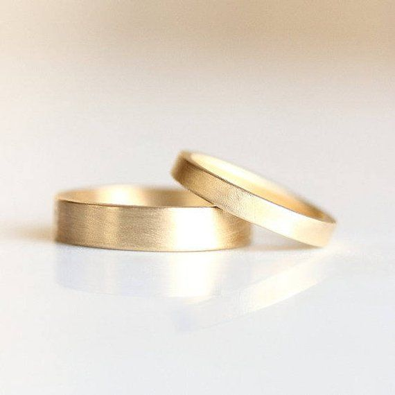db3d177600b95 Matte Gold Wedding Band | Men's and Women's Matching Rings | His and ...