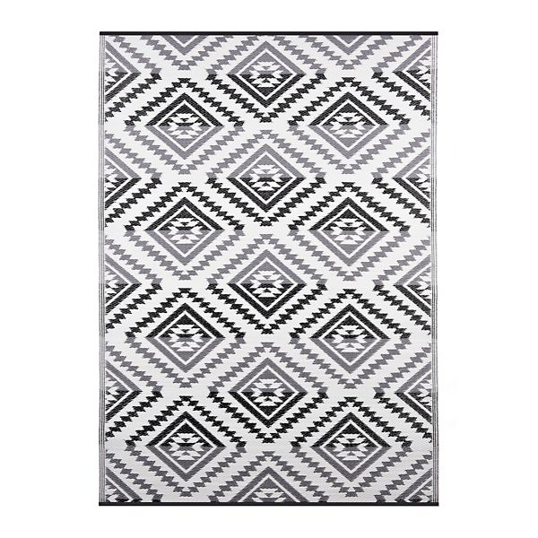 Black And White Aztec Diamonds Outdoor Rug 5x8 Outdoor Rugs