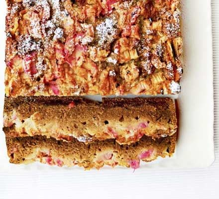 Rhubarb spice cake. Wonderfully moist and reminiscent of an old-fashioned gingerbread. Heat up a thick slice in the microwave and have it for pud with a dollop of custard