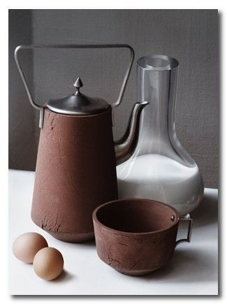 Atelier NL another genius design from the Dutch, each piece stamped with a geo-code reference to match the plot from whence the soil came. So you can eat your home grown food from tableware that has been made from the same soil. And to boot it looks fabulous.