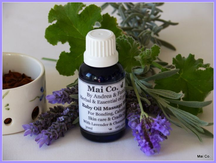 Baby Massage Oil is made from a carefully selected blend of Lavender, Mandarin and Chamomile Essential oils in a Sweet Almond oil base. Used for Calming, Cradle cap, Skin care and bonding with baby.  Works well to help Mom relax too..... ;)