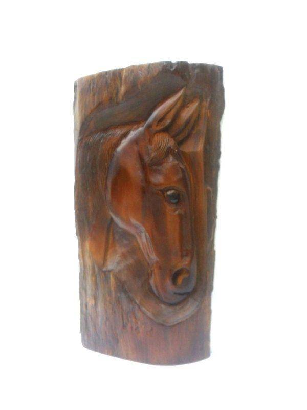 Wood Carving Horse Head Natural Teak Wood Hand Carved