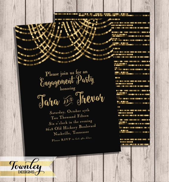 Engagement Party Invitation Gold Lights Bokeh by TownleyDesigns