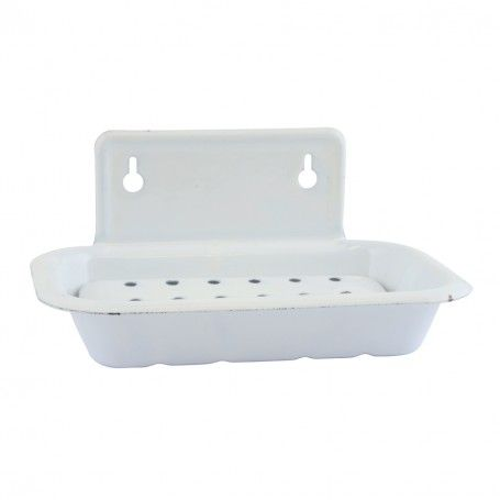 Porte-savon émaillé blanc