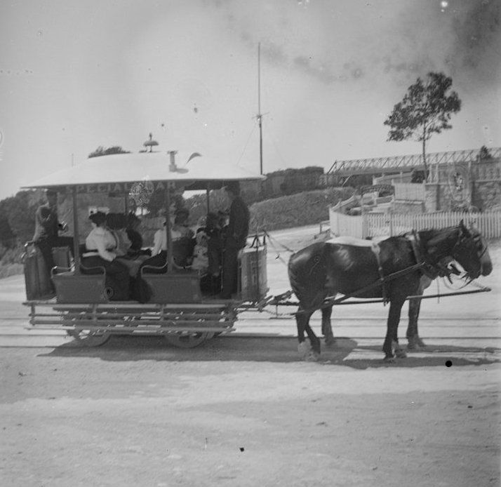 [Horse tram outside Continental Hotel, Sorrento] 1880's