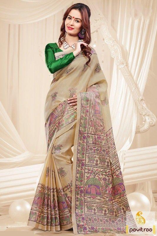 Khadi Silk Saree with Low Price #Saree #khadisilksaree #Traditionalsaree More: http://www.pavitraa.in/store/casual-saree/?utm_source=hp&utm_medium=pinterestpost&utm_campaign=5Nov  Free Shipping + COD Service In India More Details : Call / WhatsApp : +91-75750-33399