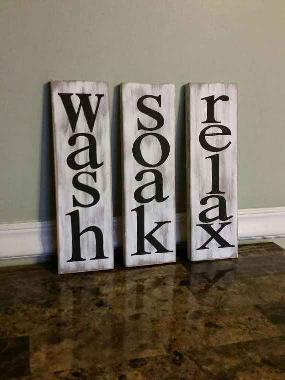 Wash Soak Relax Sign Bathroom Decor Rustic Bathroom by CSCByMeg