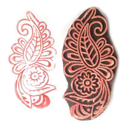 Amazon.com: Handmade Paisley Flower Motif Block Print Wood Stamp: Arts, Crafts…