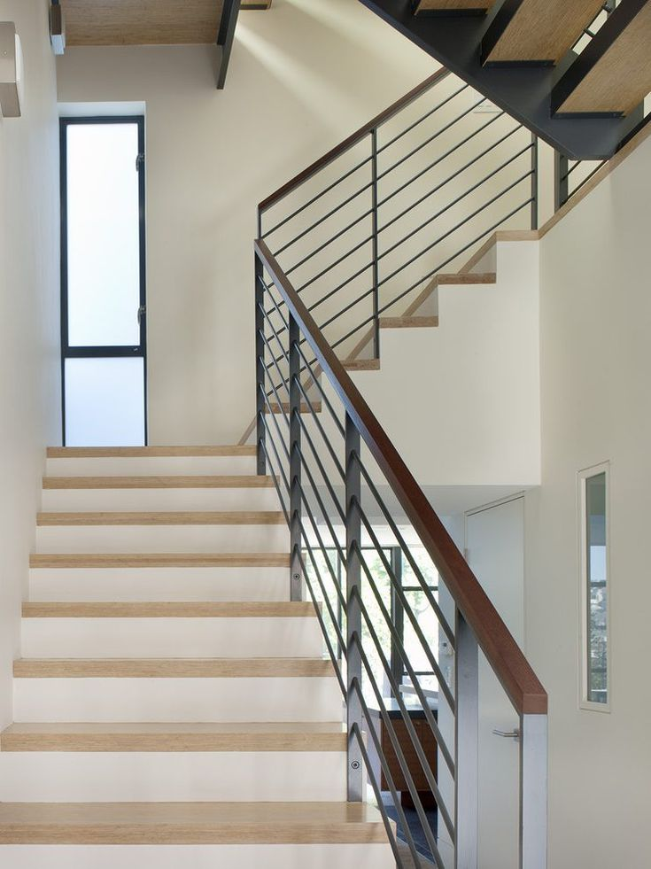 Best Steel Flat Bar Hand Rail Staircase Modern With Wood Glass 640 x 480