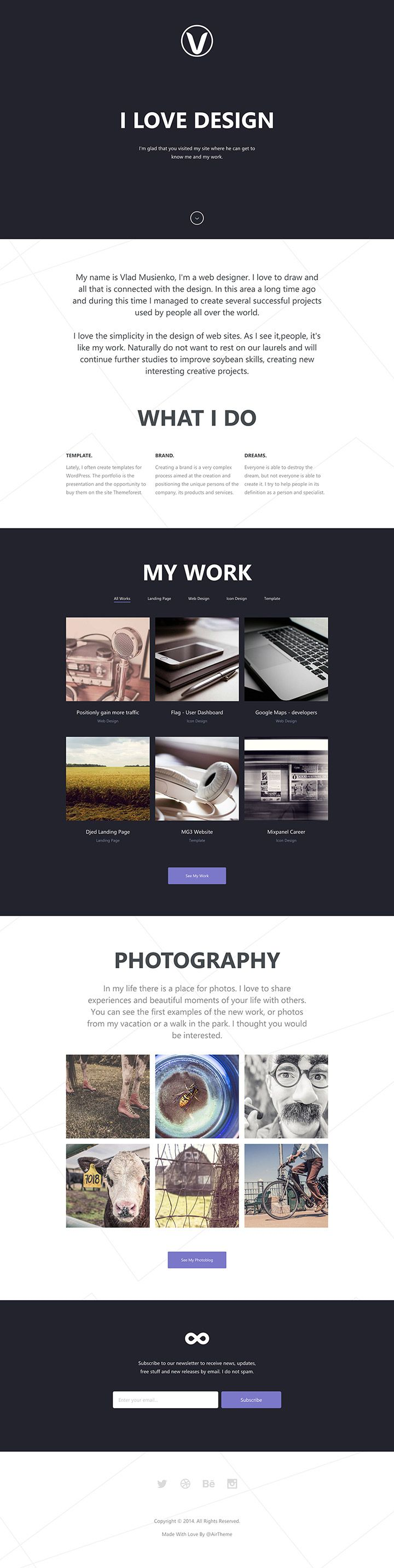 Lithium is a free HTML5 Responsive one page template built using CoffeeScript, SCSS and Grunt by Vadim Goncharov, a web designer and develop...