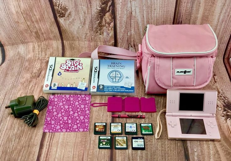 Nintendo Ds Bundle Pink Bag Console 9 Games Charger Crayon Stylus 100% Working