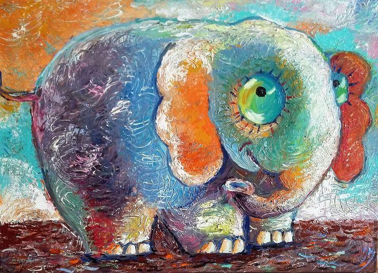 Купить Слонопотам Картина маслом. - фуксия, слон, абстрактная картина, абстракционизм, картина в подарок, картина