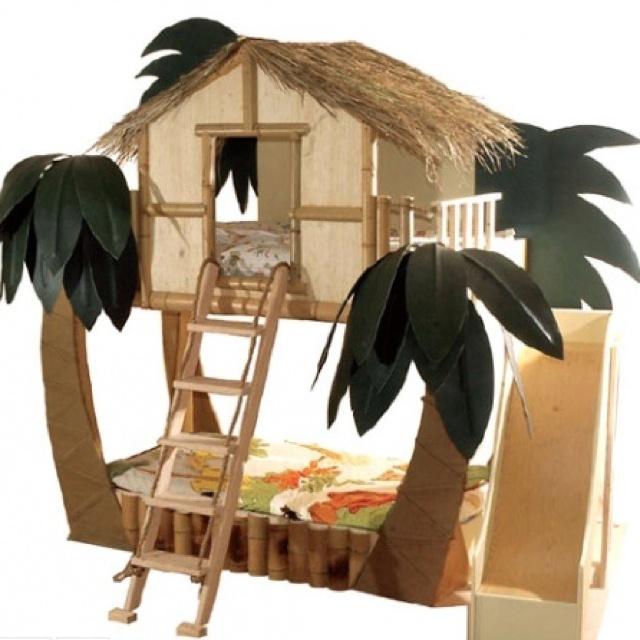 Too cute, Hawaiian jungle theme bed for kids