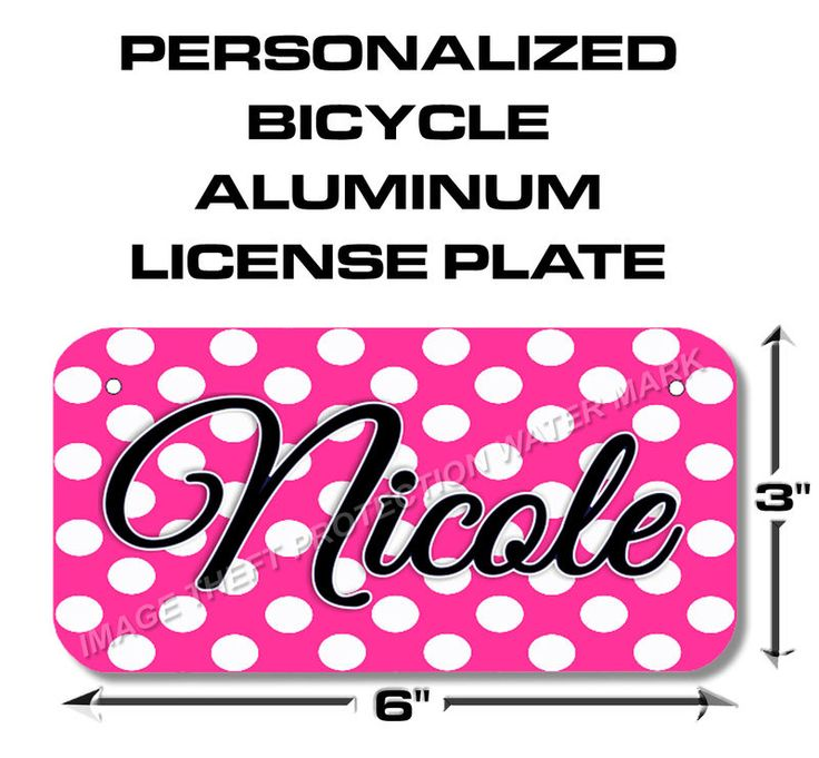 YOUR NAME Girls Polka Dot Bicycle Toy Bike Power Wheels Scooter License Plate
