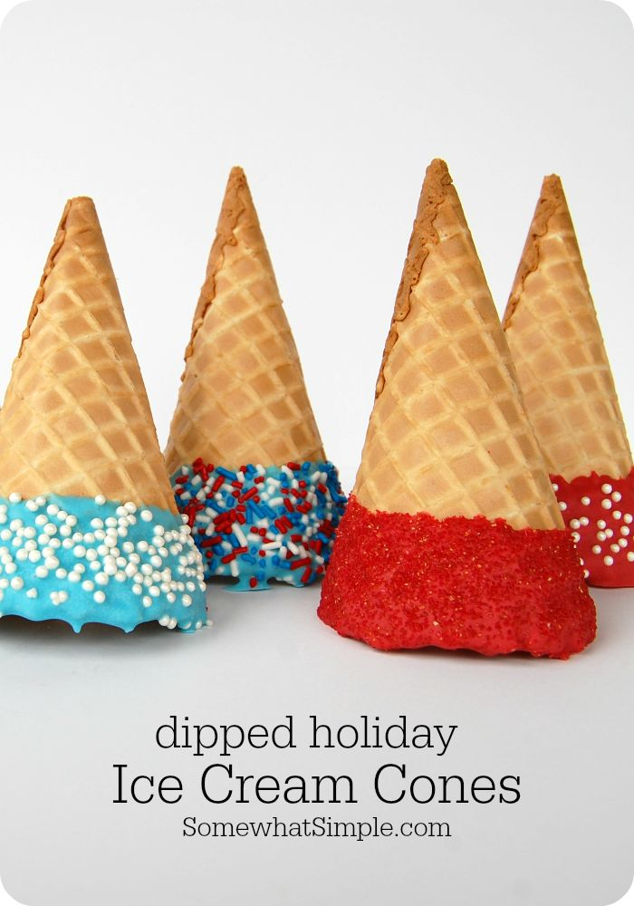 Holiday Dipped Ice Cream Cones - Somewhat Simple