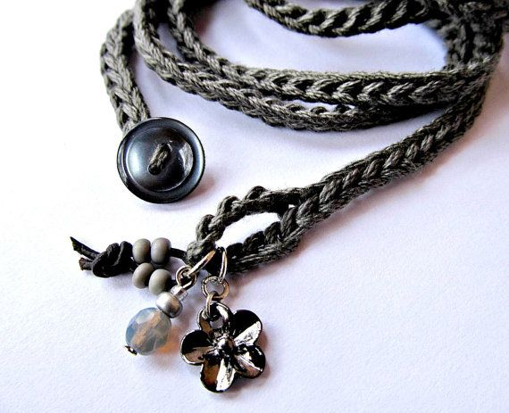 Crochet bracelet with charms, wrap bracelet, charcoal grey, cuff bracelet, bohemian jewelry, crochet jewelry, fiber jewelry, fall fashion
