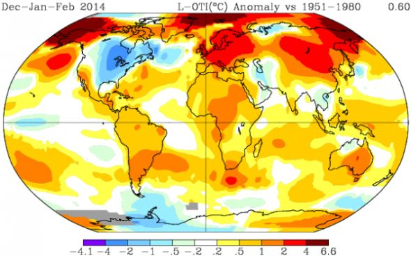 A global map of temperature anomalies