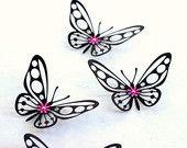 3d butterfly wall art - Butterfly wall decor - Paper Butterflies - Black Nursery art - Kids room decor - Black wall art - Baby shower decor