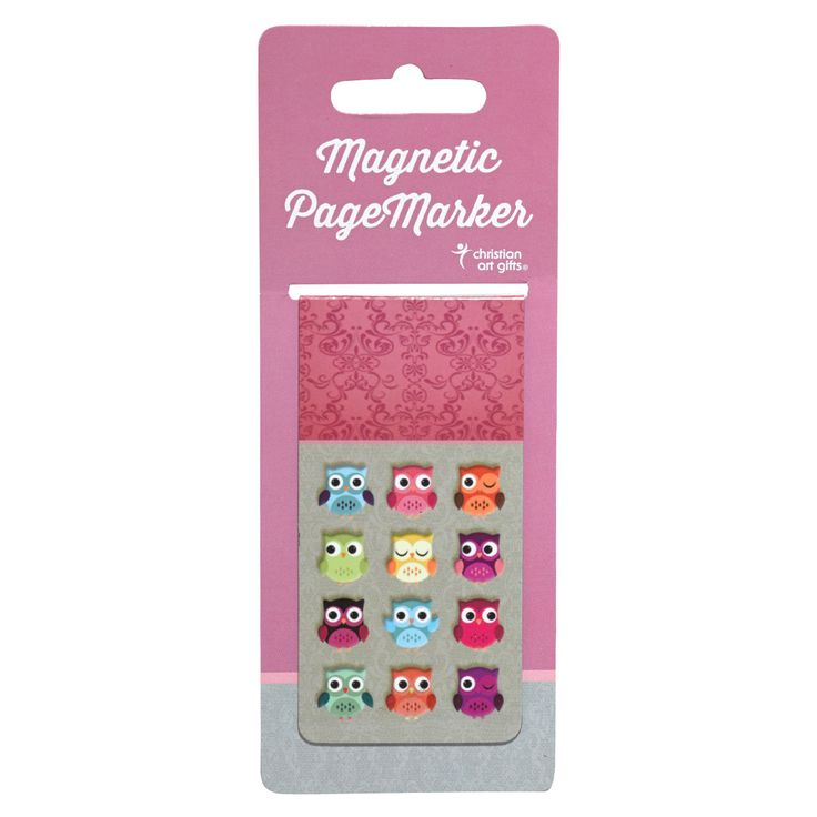 """Large Magnetic Pagemarker  Wisdom For the Soul  Owls   • Laminated Magnetic Vinyl Sheeting (1 ¾"""" x 3 ½"""")  • Charming Design Appeals To All Ages  • Scripture Verse - Ecclesiastes 2:26  • Perfect For Gift Giving   Price: R40 per Magnetic Pagemarker."""