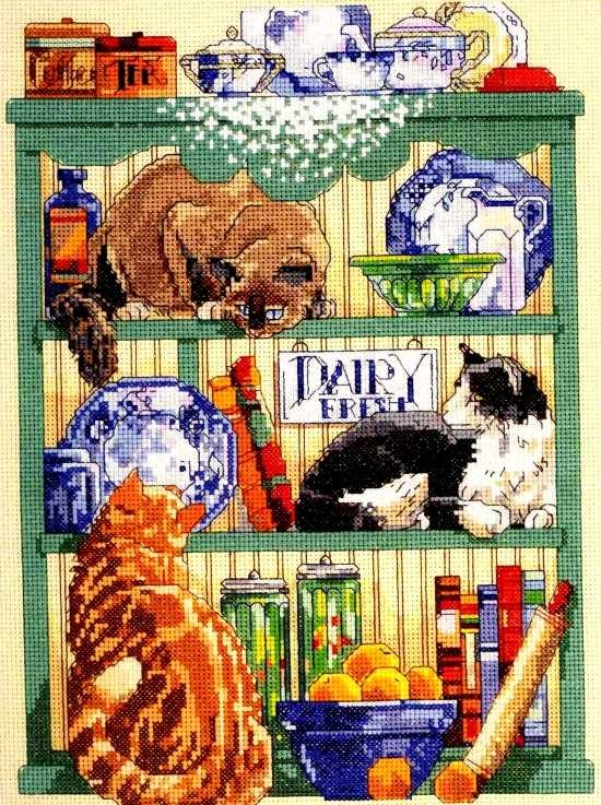 Cats in the Kitchen cross stitch kit.