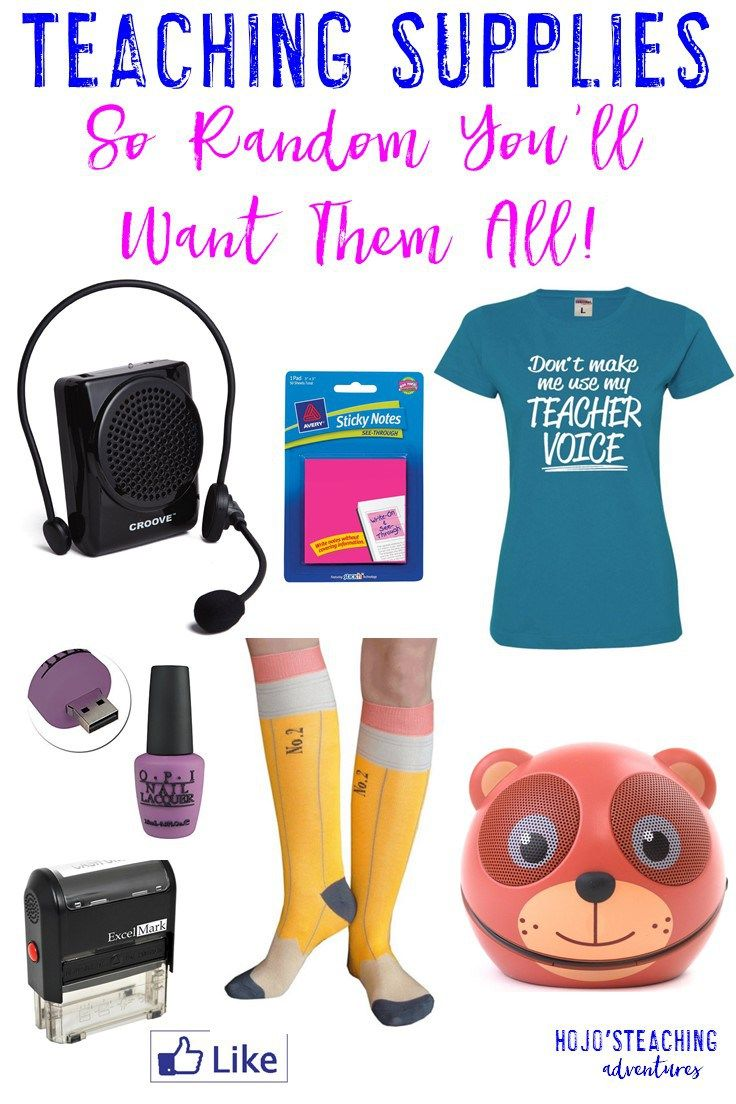 This list of random teaching supplies contains unique, but totally functional things you can wear or use in your classroom!