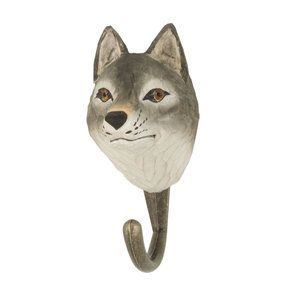 DecoHook Gray wolf handcarved clothes hanger from Wildlife Garden - maybe for the kids room? See all the animals at: wildlifegarden.info