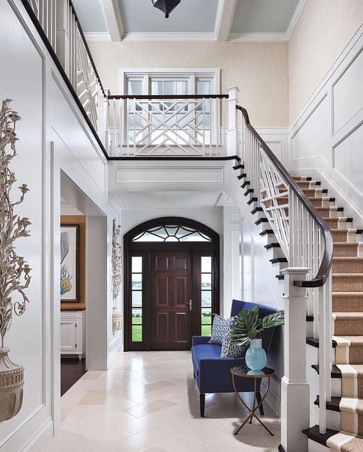 21 Attractive Painted Stairs Ideas Pictures: Wow 😮....what A Beautiful Foyer😍. Loving The Gorgeous Door