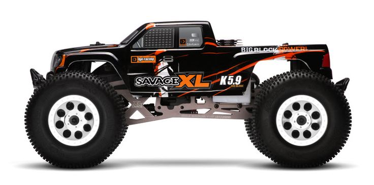 "HPI Savage XL: it's longer, taller, and wider with more cubes than the ""X"" model. Plus a bunch of other features..."