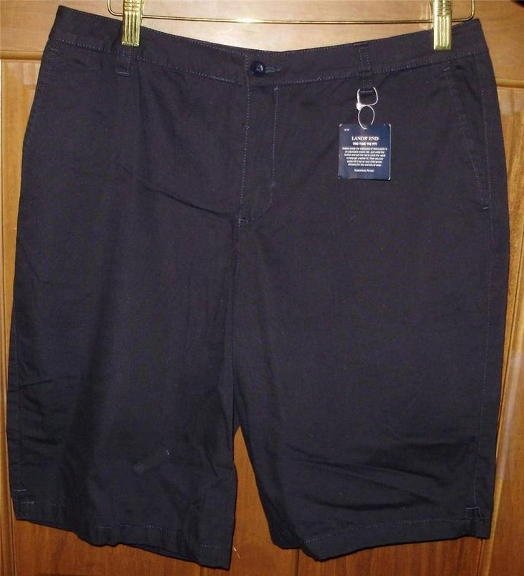 Womens maternity shorts-16-Lands End-Navy Blue-NEW