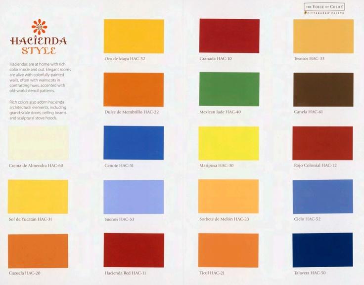 Pittsburgh Paints 39 New Hacienda Style Color Palette