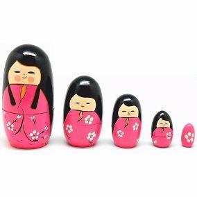 Kokeshi Boneca Matrioska Japonesa Chinesa Gueixa Rosa Hachi8