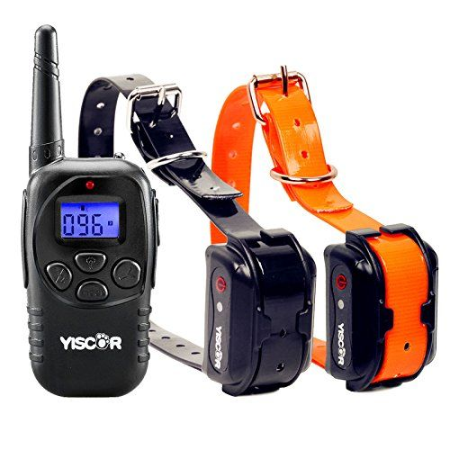 YISCOR Dog Training Collar, Shock/Vibration/Beep Remote 330Yds Waterproof All Size Dogs (10LB-100LB) Electric Bark Collar Anti Barking Collar for Dogs (Two Dog Set)
